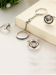 5PCS Vintage Cat's Eye Rings Accessories GOLD