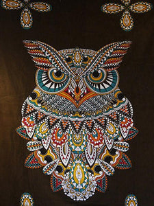 Vintage Owl Pattern Blanket Beach Mat Yoga Mat BLACK