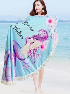 Popular Printed Tassels Round Beach Mat Yoga Mat - 150*150