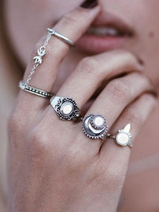 5PCS Vintage Cat's Eye Rings Accessories SLIVER