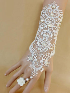 Pretty Lace With Ring Bracelet Accessories WHITE FREE SIZE