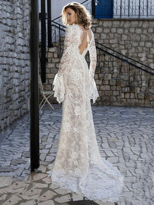 Lace Flared Sleeves V-back Evening Dress WHITE L