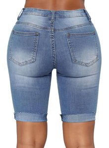Turn Up Above-knee Ribbed Denim Shorts Blue L