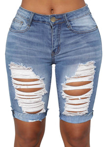 Turn Up Above-knee Ribbed Denim Shorts Blue S