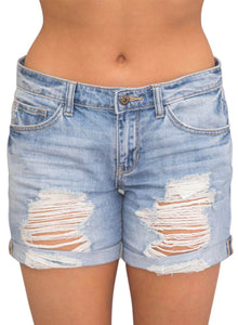 Rolled Cuffs Distressed Denim Shorts Blue S
