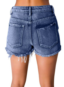 Distressed Ripped Washed Denim Shorts Blue M