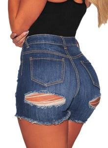 Distressed Ripped High Waisted Denim Shorts Blue S