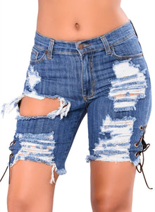 Lace-up Distressed Denim Shorts Blue S