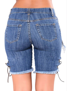 Lace-up Distressed Denim Shorts Blue L