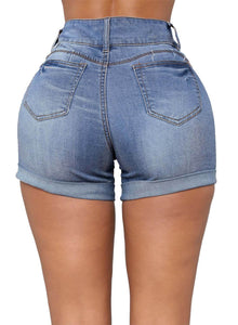 High Waisted Ripped Denim Shorts Blue L