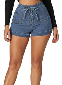 Lace Up Front Jeans Shorts Light Blue S