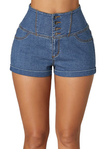 Buttoned High Waist Denim Shorts Light Blue S