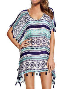 Casual Beach Vacation Tassel Chiffon Short Sleeve V Neck Mask Cover-ups FREE SIZE PURPLE