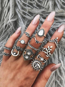 Vintage 14PCS Multi Shape Rings Accessories SAME AS THE PICTURE