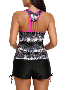 V Neck Color Block Printed Racerback Tankini Swim Top 410454 Purple M