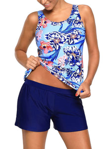 Floral Print Tankini and Short Swimsuit 410286 Navy S