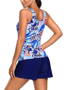 Floral Print Tankini and Short Swimsuit 410286 Black M