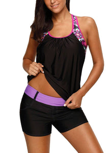 Blouson Floral T-Back Push Up Tankini Top 410457 Black S