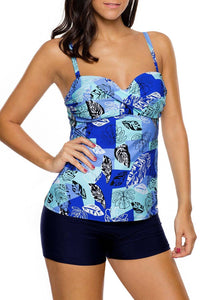 Ruched Floral Printed Blouson Tankini Swimsuits With Swim Shorts  410269 Blue XXL