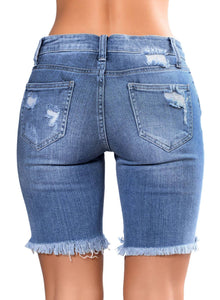 Distressed Ripped Denim Shorts Light Blue S