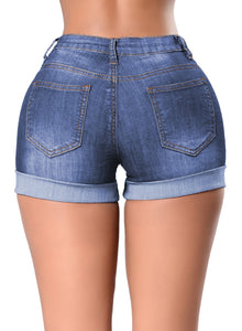 Turn-up Cuff Floral Embroidery High Waisted Denim Shorts Blue L