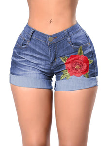 Turn-up Cuff Floral Embroidery High Waisted Denim Shorts Blue S