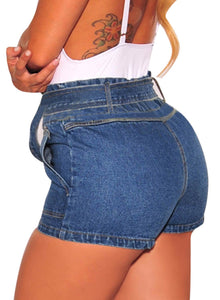 Paperbag Waist Belted Short Denim Jeans Dark Blue M