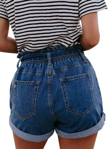 Paperbag Waist Belted Short Denim Jeans Dark Blue XL