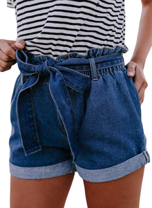 Paperbag Waist Belted Short Denim Jeans Dark Blue S