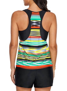 Tie Dye Striped Overlay Racerback Tankini Top Multicolor XL
