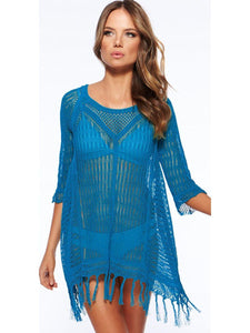 Sexy Hollow 3\/4 Sleeve Beach Cover-up Tops BLUE