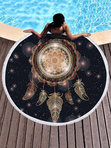 Dreamcatch Circle Tasseled Beach Mat Dreamcatcher FREE SIZE
