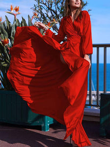 V-neck Long Sleeves Solid Color Belted Maxi Evening Dress RED S