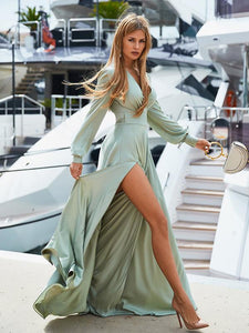 V-neck Long Sleeves Solid Color Belted Maxi Evening Dress LIGHT GREEN M