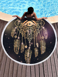Dreamcatch Circle Tasseled Beach Mat Eye FREE SIZE