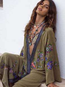 Beautiful  National Style Loose Cover-Ups GREEN XL