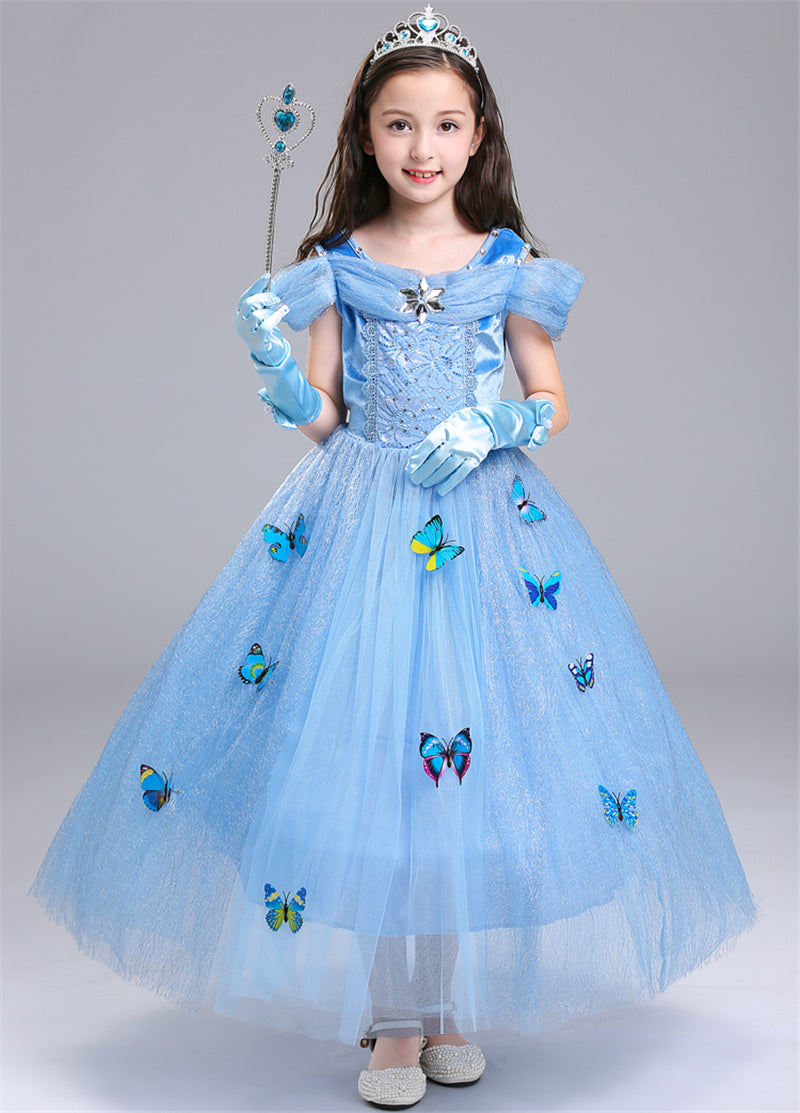 Girl\'s Aurora Princess Dress with Butterflies for Girls Age 3-10 ...