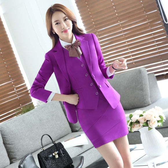 Women S Professional Formal 3 Piece Business Suit With Blazer