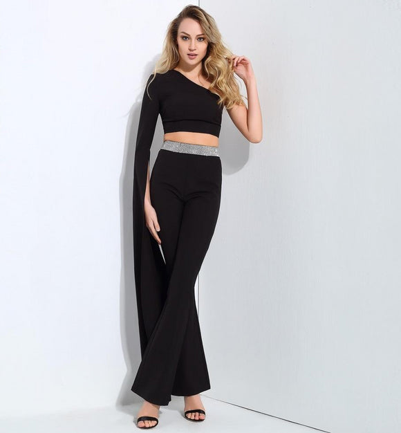 4354e5bb3c Elegant 2 Piece Jumpsuit with One Shoulder Black Trumpet Sleeve Crop Top  and Slim Fit Pants