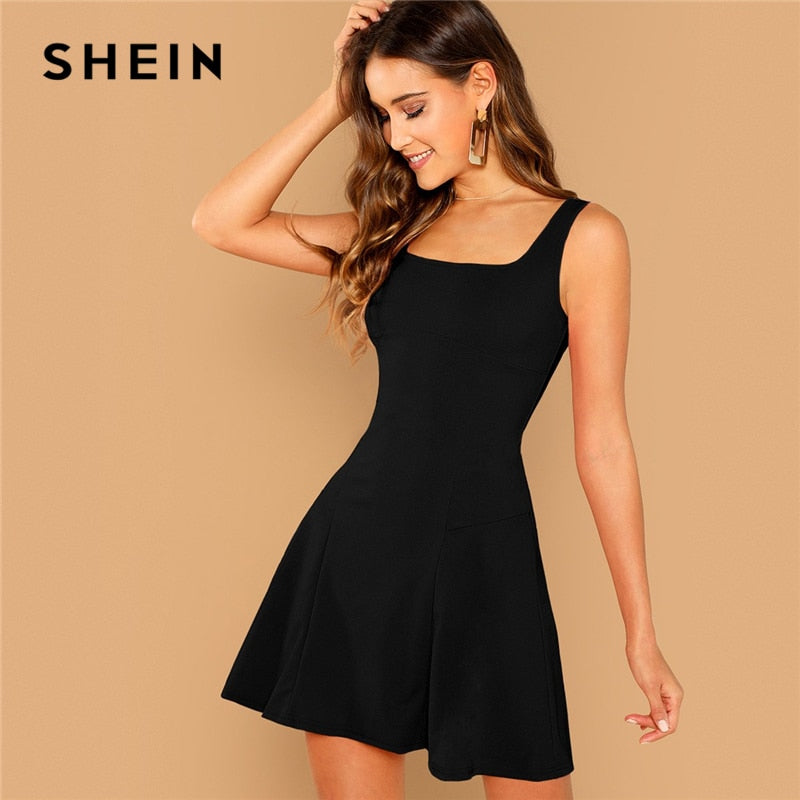 8bff336374 SHEIN Solid Black Fit And Flare Sleeveless Short Mini Dress with Square  Neckline ...