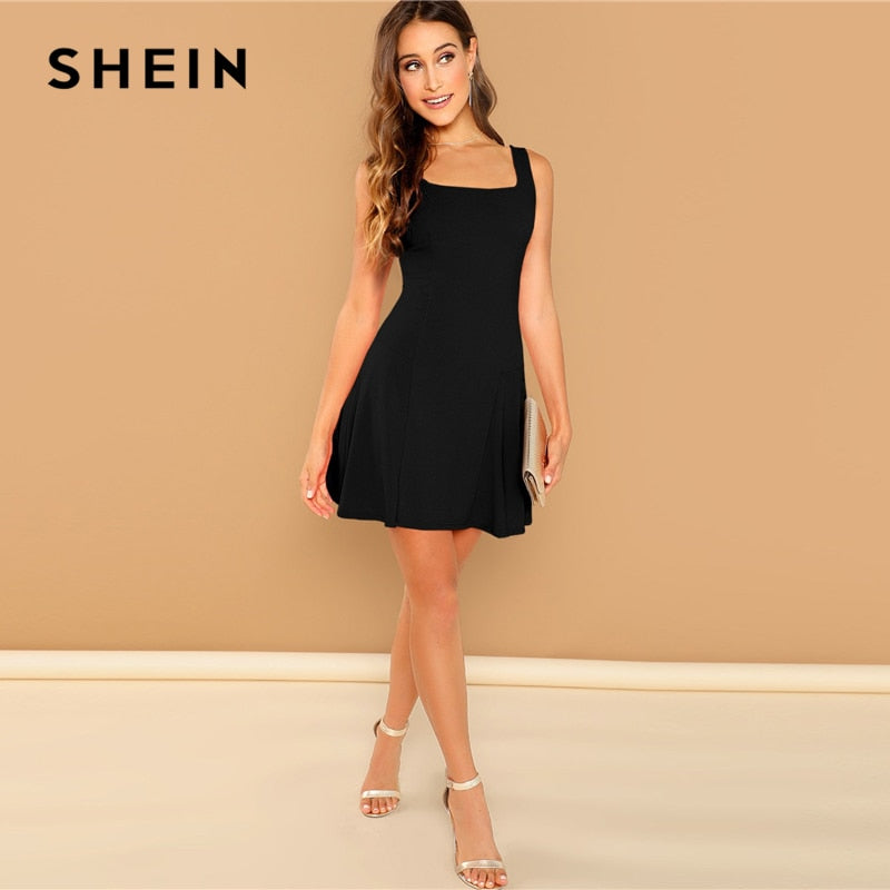b61304dd87 ... SHEIN Solid Black Fit And Flare Sleeveless Short Mini Dress with Square  Neckline ...