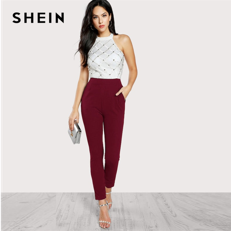 f38a78b72b4 SHEIN Full Length Jumpsuit with White Halter Top and Elegant Beading Detail  and Solid Black High ...