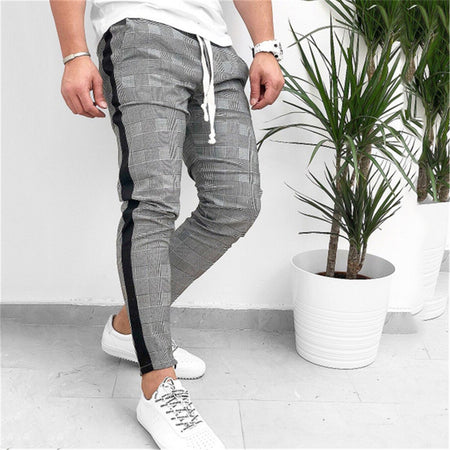 Men Fashion Printed Split Joint Drawstring Pants