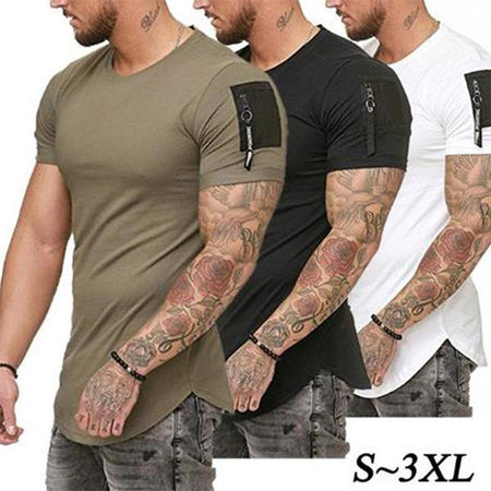 Mens Casual Pure Color Arm Zipper Pocket Decoration T-Shirts