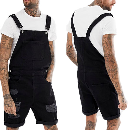 Retro Men's Denim Hole Circle Shorts Jumpsuit Overalls