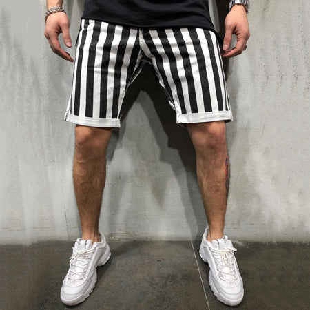 Casual Striped Jean Shorts