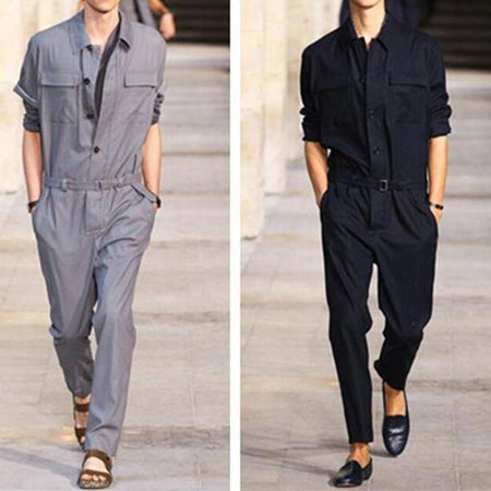 Casual Fashion Slim Men Long Sleeve Jumpsuits