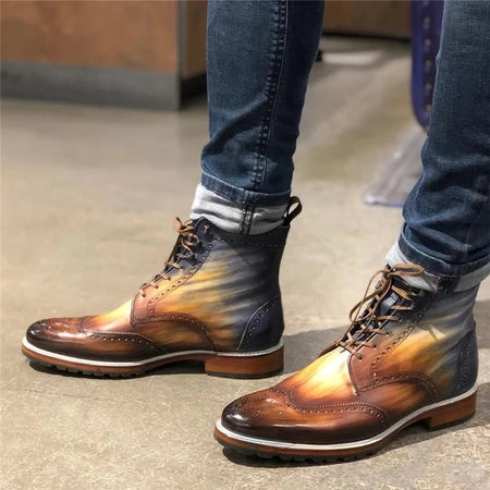 Men's Flat Vintage Rub Color  Boots