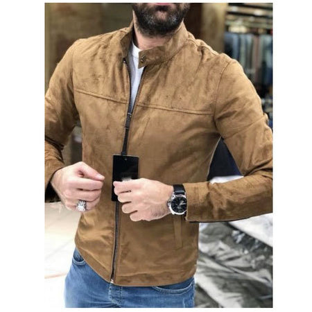 Vintage Men's Zipper Suede Jacket Coat