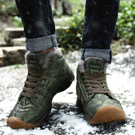 Camo Warm Safety Shoes Lace Up Ankle Boots
